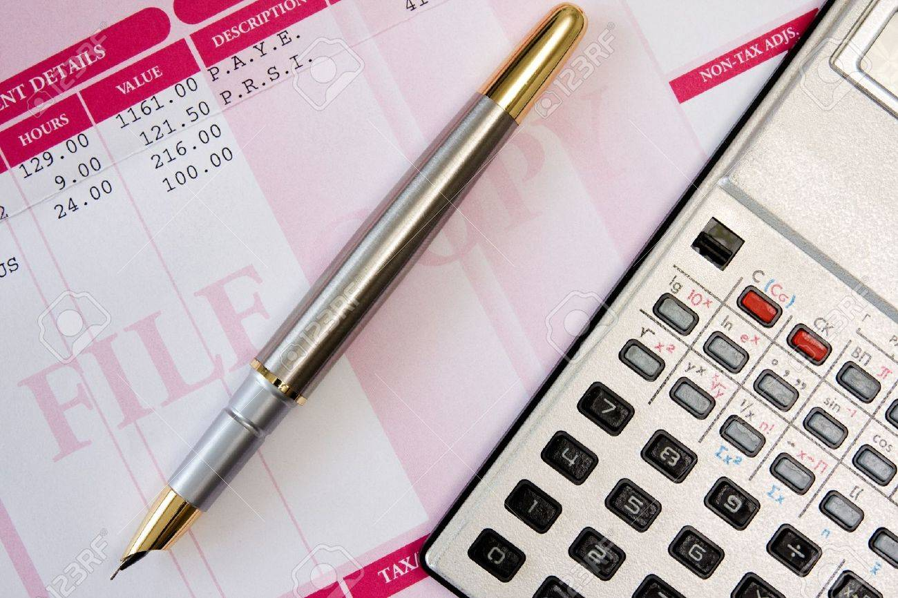ink pen,calculator  and payroll summary details Stock Photo - 12407785