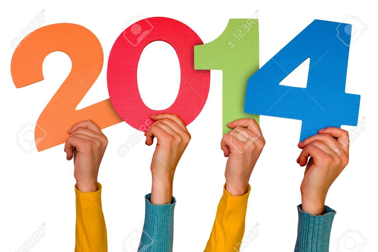 Hands with numbers shows year 2014. Isolated on white background Stock Photo - 21432838