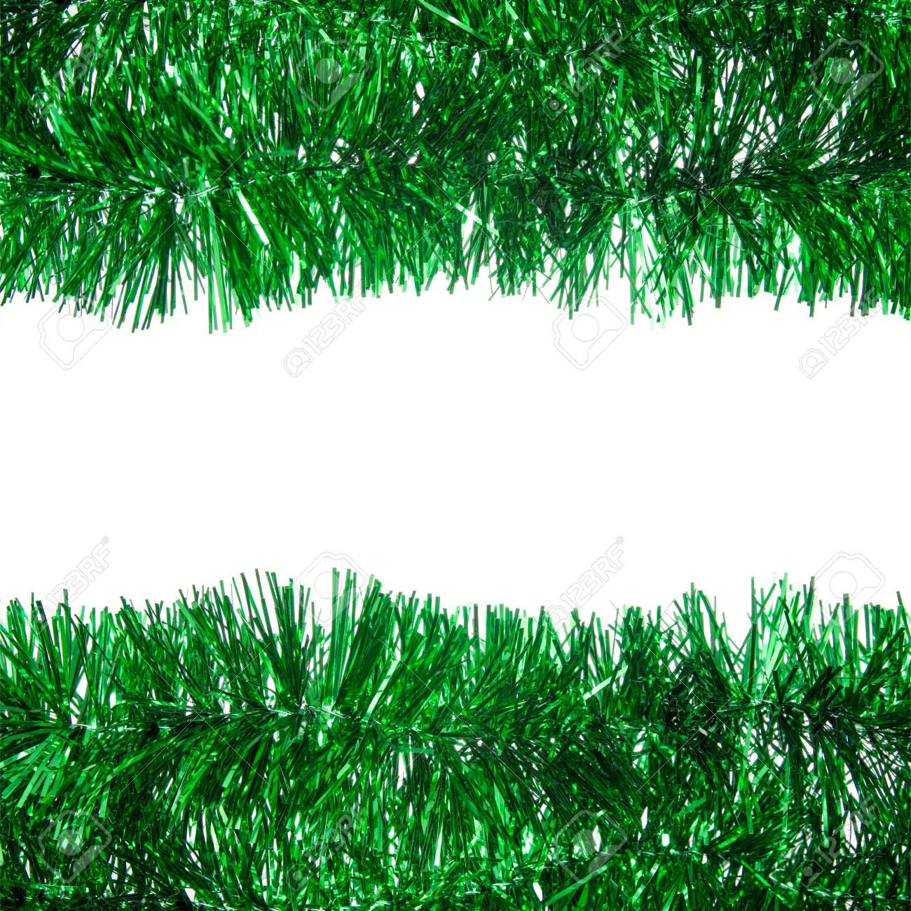 Christmas Tinsel Garland.Green Christmas Tinsel Garland With Center Copy Space