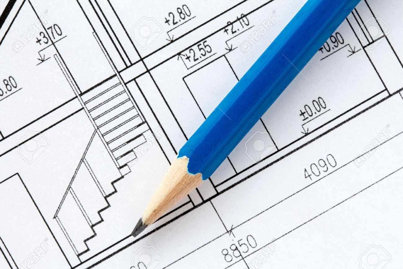 Engineering and architecture drawings with blue pencil stock photo 44913087
