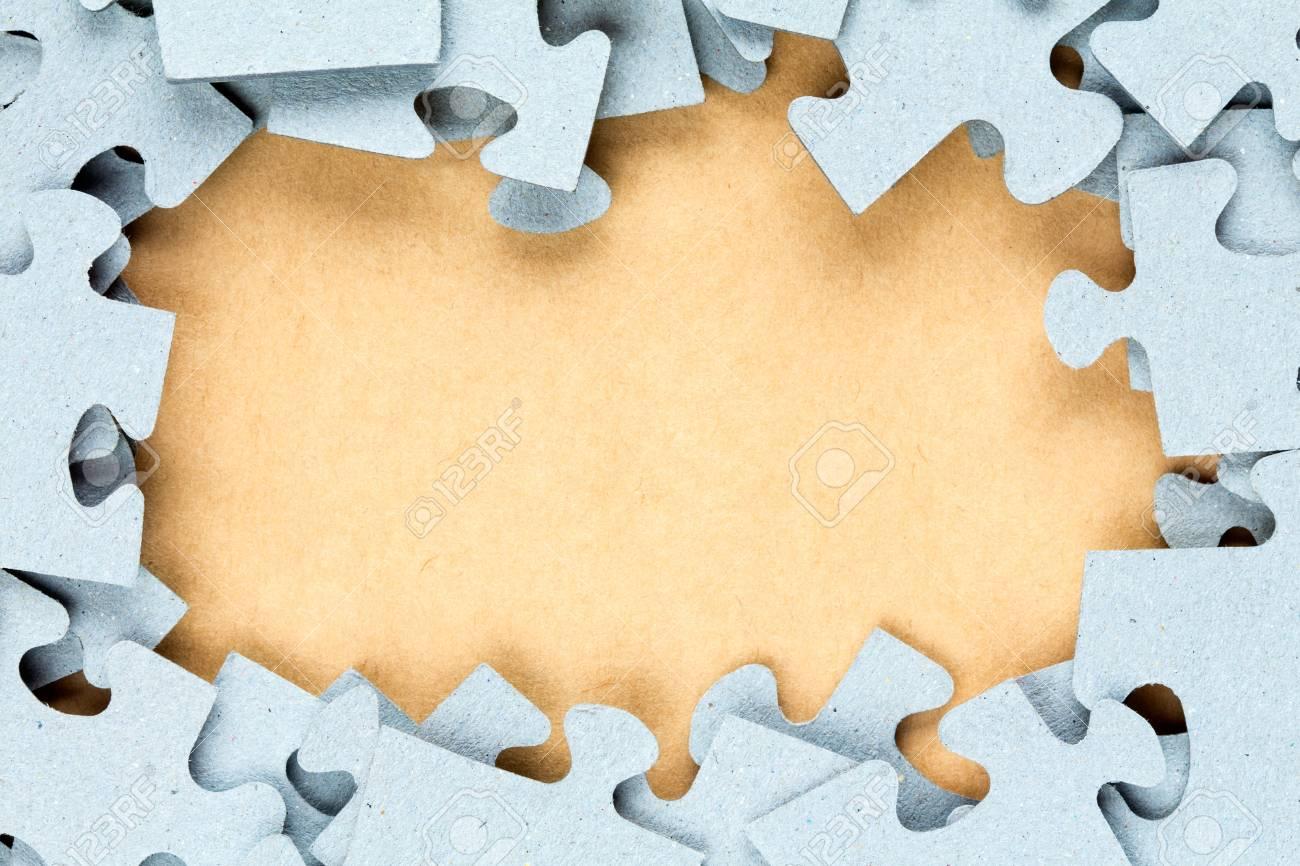 Blau Puzzle-Rahmen Mit Papier Hintergrund Für Copy-space Lizenzfreie ...