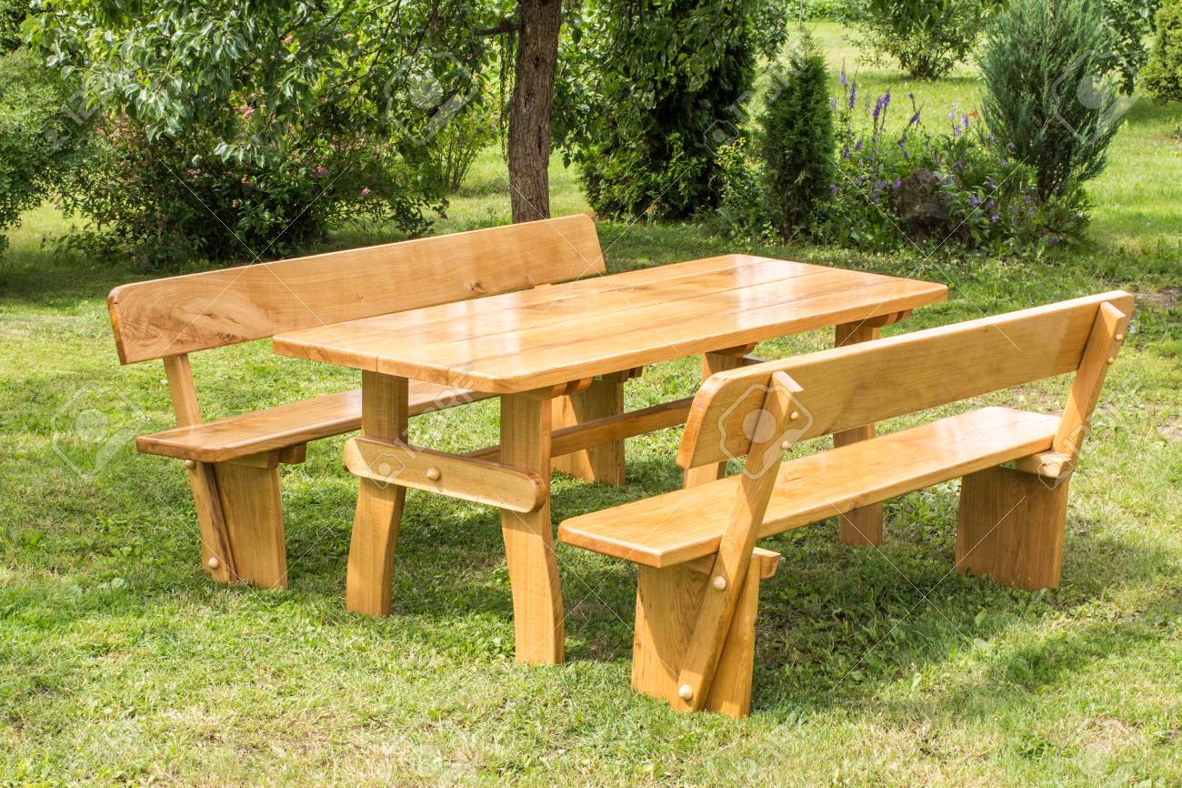 Pleasant Wooden Set Of Table Benches With Backrests On Green Grass Lawn Pabps2019 Chair Design Images Pabps2019Com