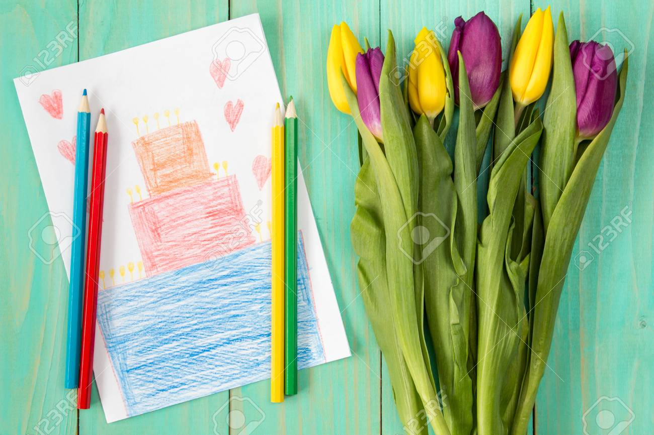 Handmade Birthday Greeting Card And Bouquet Of Tulips Stock Photo