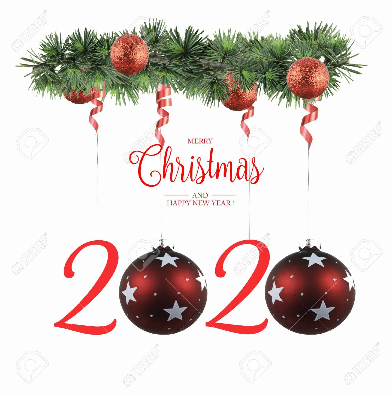 Christmas Cards 2020 Happy New Year 2020 Greeting Cards Stock Photo, Picture And