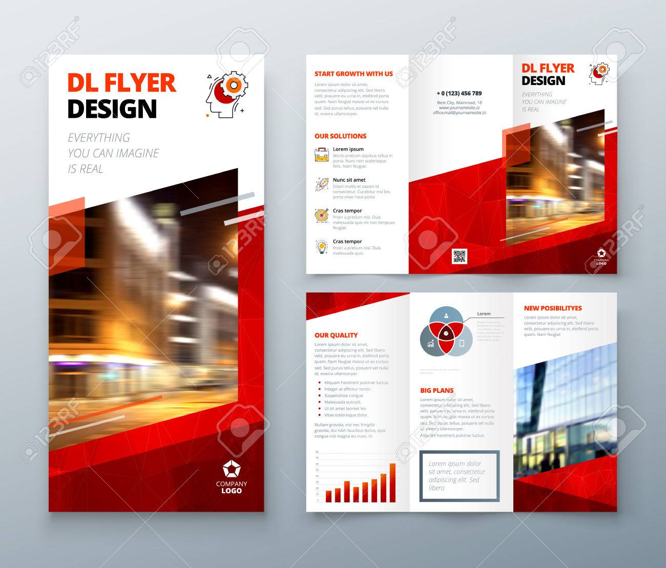 Tri Fold Brochure Design Red Dl Corporate Business Template