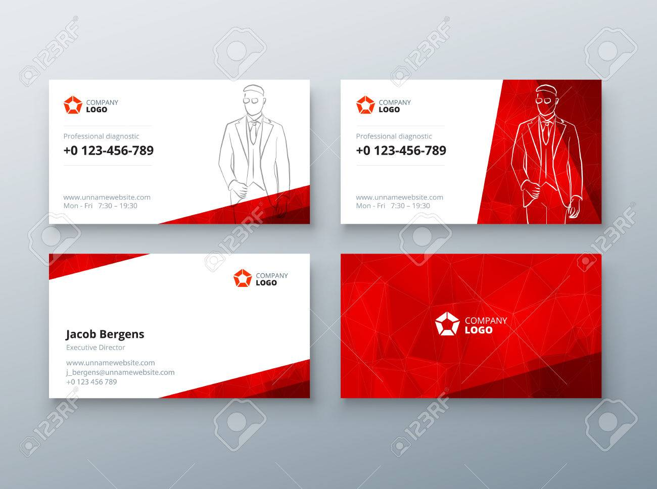 Business card design red business card template for personal business card design red business card template for personal or corporate use layout with friedricerecipe Gallery