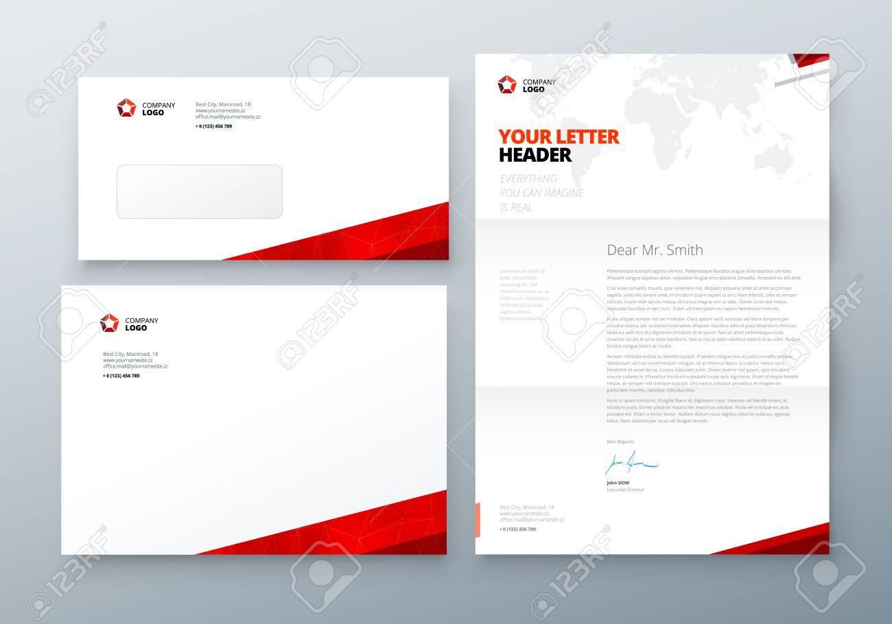 Umschlag Dl C5 Briefkopf Red Corporate Business Vorlage Für
