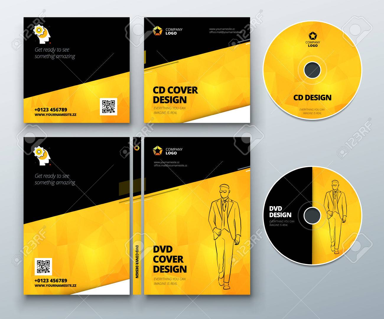 cd envelope dvd case design black yellow corporate business