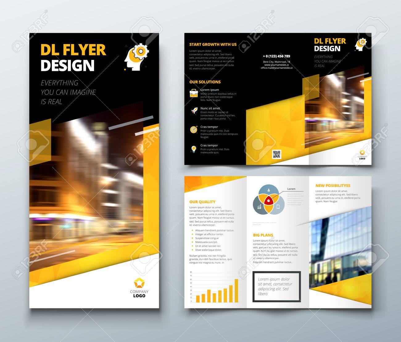 tri fold brochure design black yellow dl corporate business