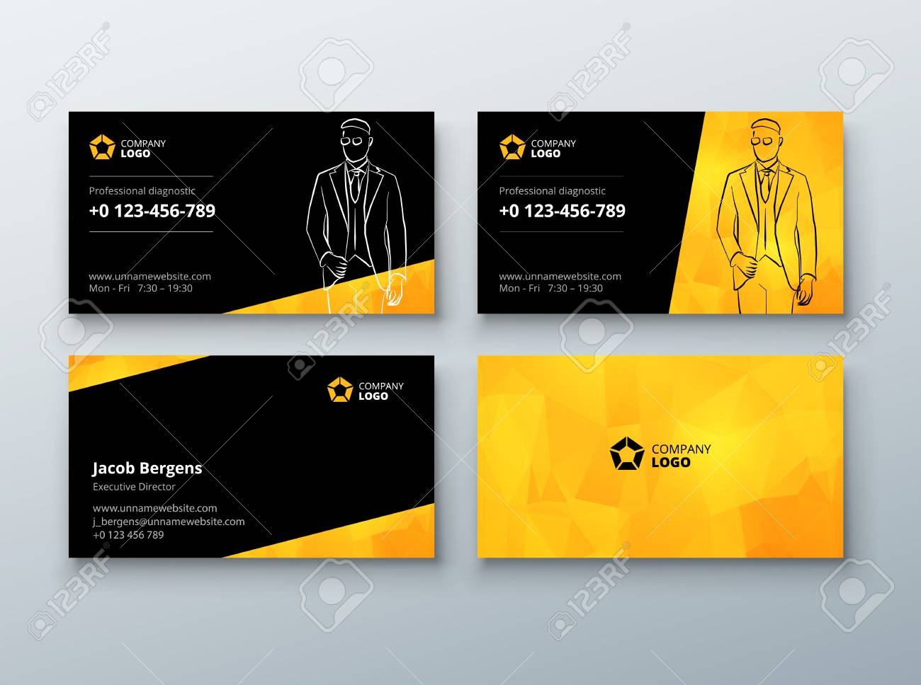 Business Card Design Black Yellow Business Card Template For Royalty Free Cliparts Vectors And Stock Illustration Image 74640845