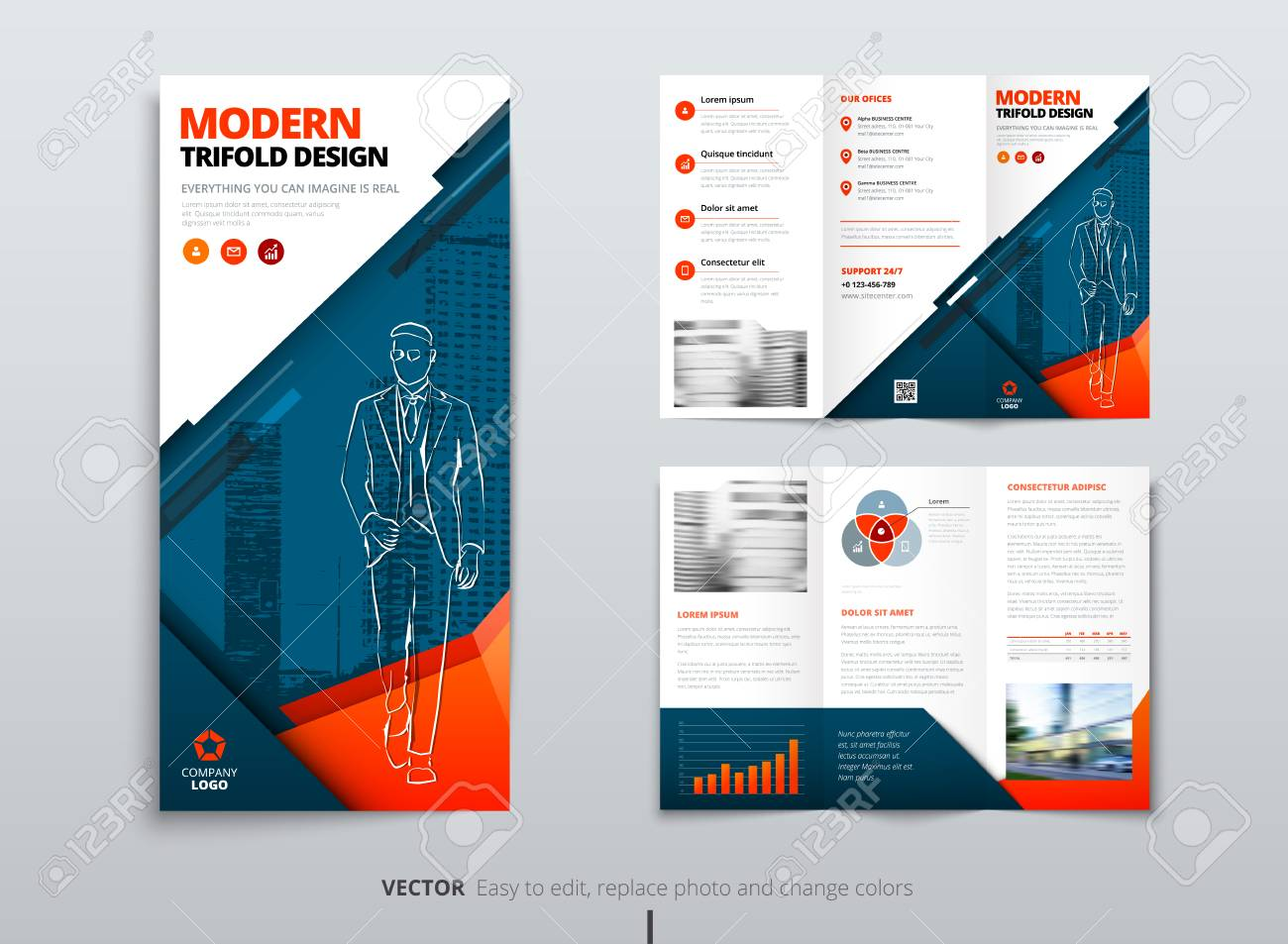 tri fold brochure design blue orange dl corporate business template