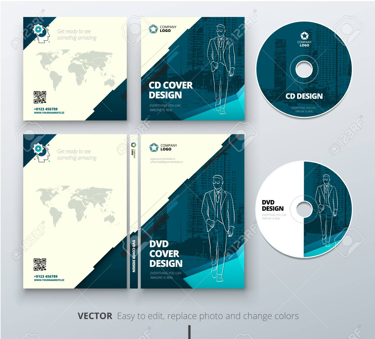 cd envelope dvd case design teal corporate business template