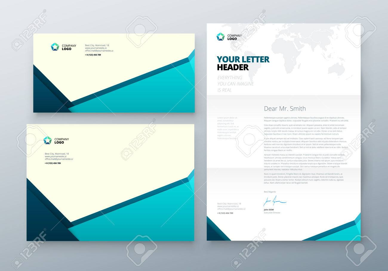 Envelope DL, C5, Letterhead. Teal Corporate Business Template ...