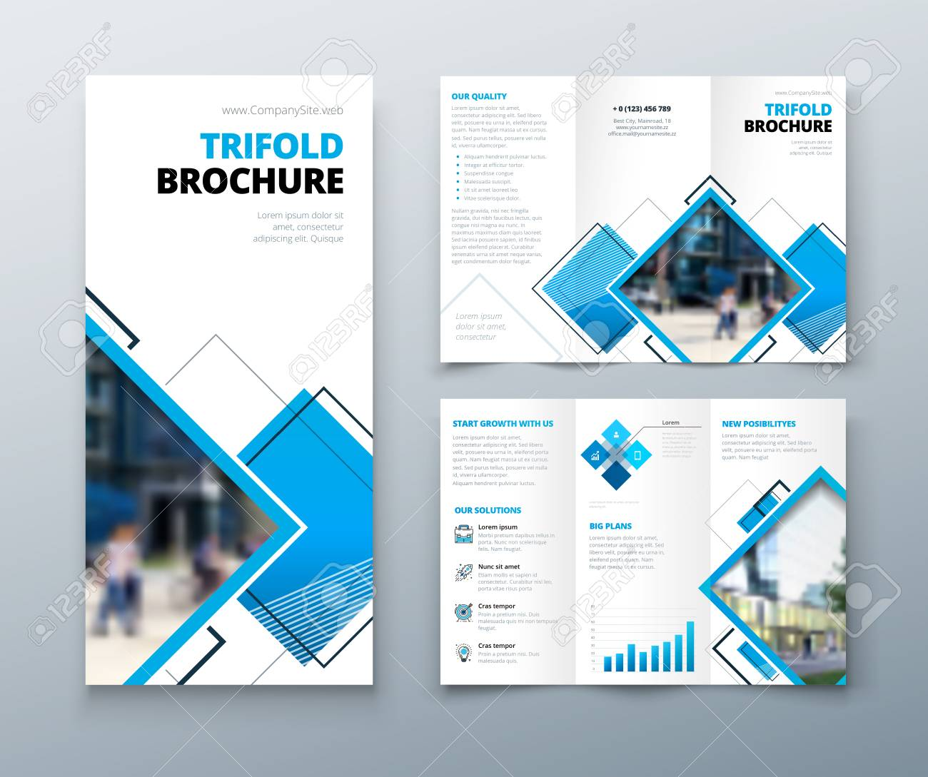 tri fold brochure design corporate business template for tri fold flyer with rhombus square shapes
