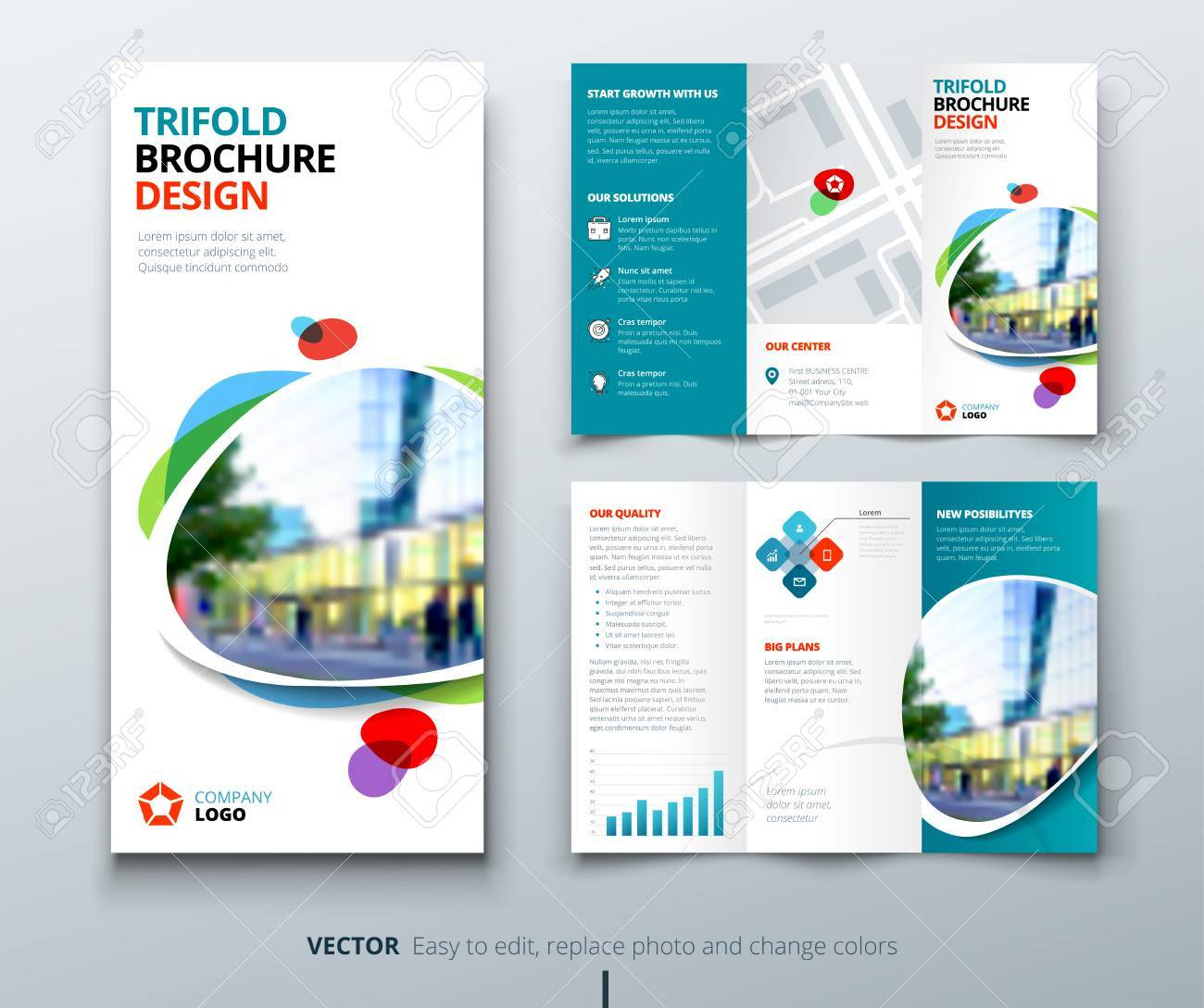 Business tri fold brochure design. Teal, orange corporate business template for tri fold flyer. Layout with modern square photo and abstract background. Creative concept 3 folded flyer or brochure. - 78685503