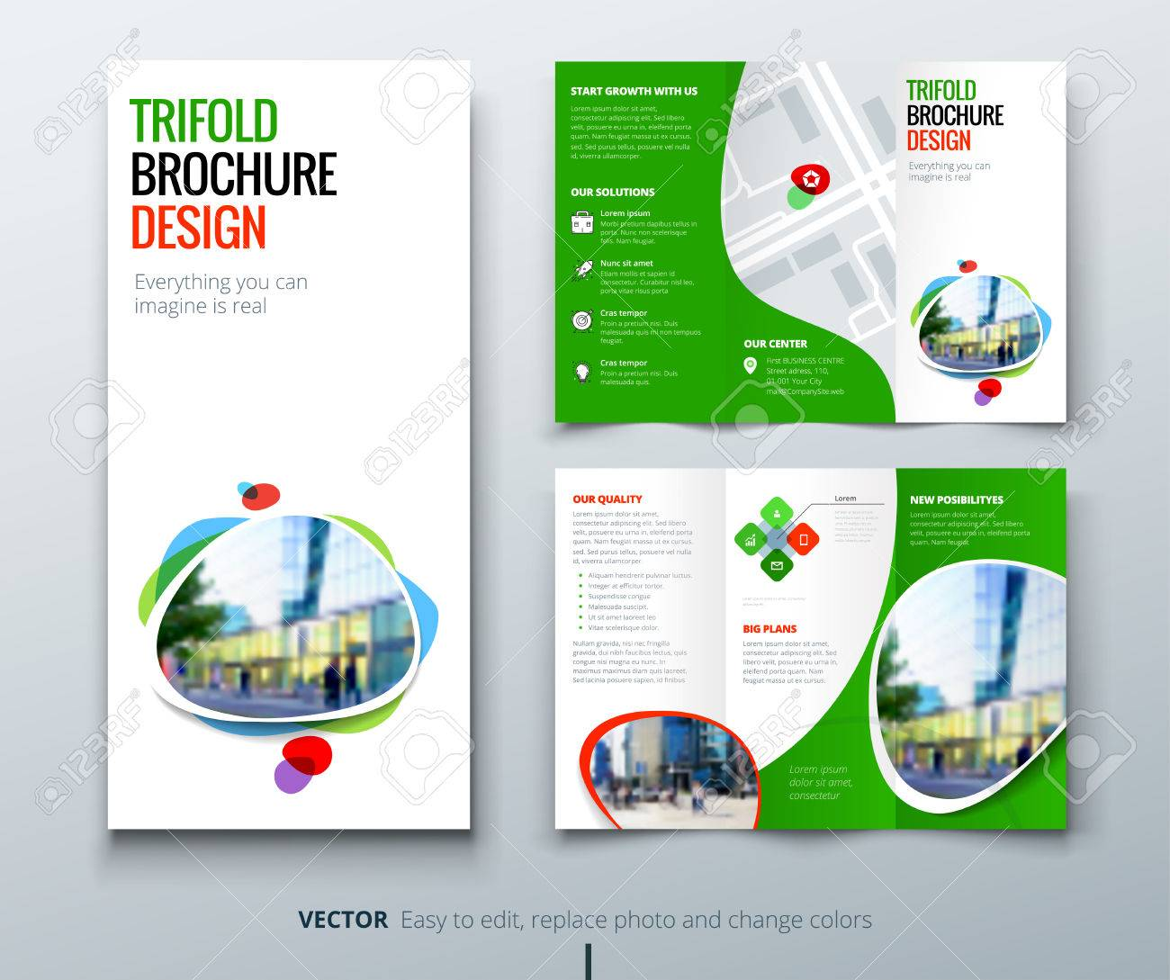 business tri fold brochure design green orange template for