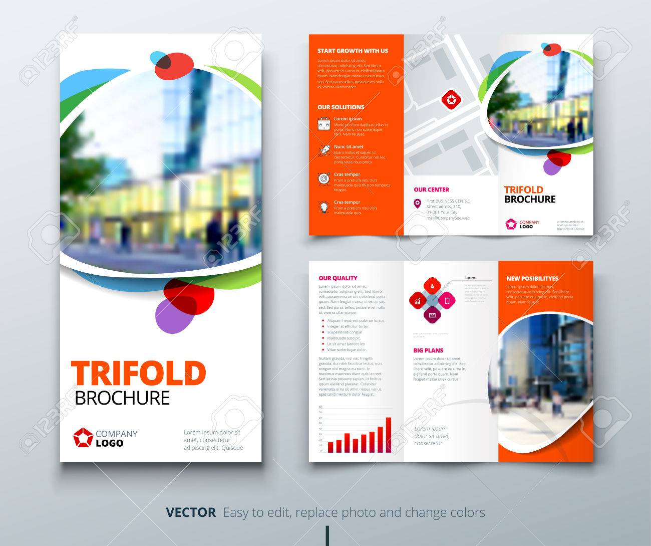 business tri fold brochure design orange fun template for tri
