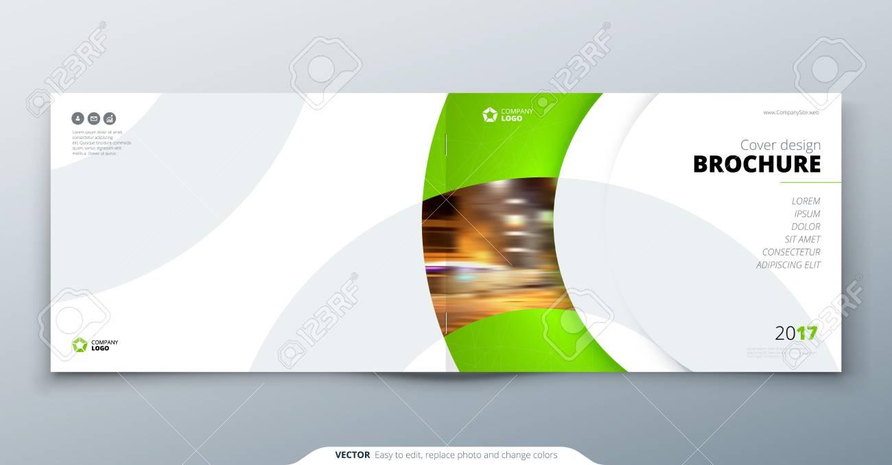 landscape brochure design green corporate business rectangle