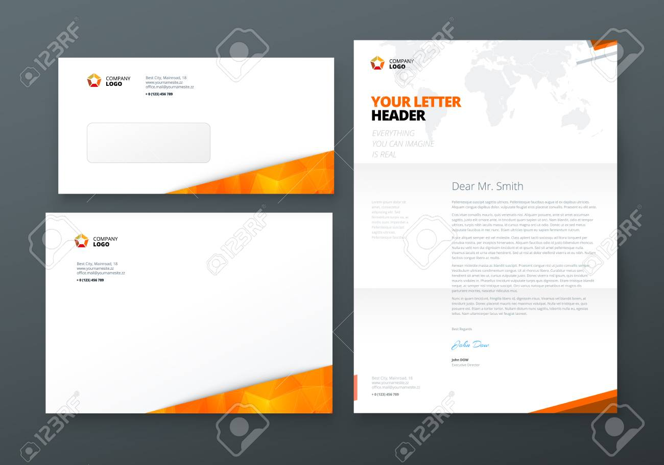 Letterhead free vector templates alternative clipart design envelope dl c5 letterhead orange corporate business template rh 123rf com spiritdancerdesigns Image collections