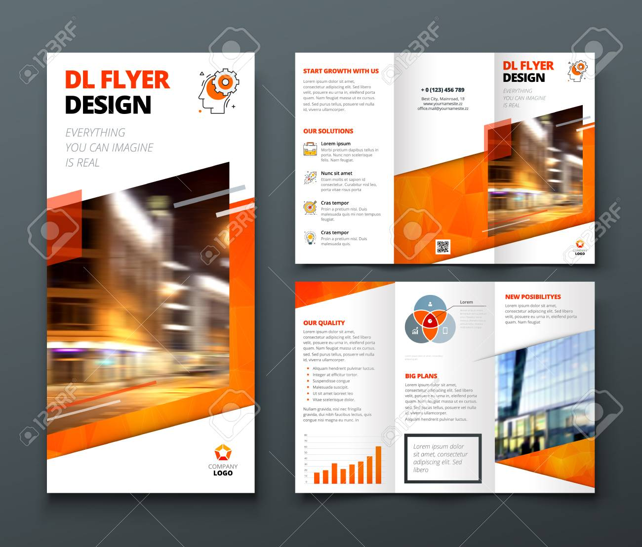 tri fold brochure design orange dl corporate business template