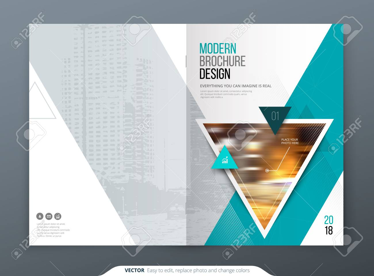 Brochure Template Layout Design Corporate Business Annual Report - Modern brochure template
