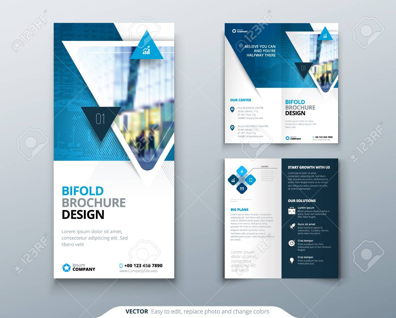 bi fold brochure design blue template for bi fold flyer layout