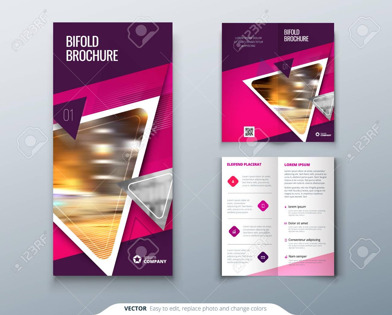 bi fold brochure design pink purple template for bi fold flyer