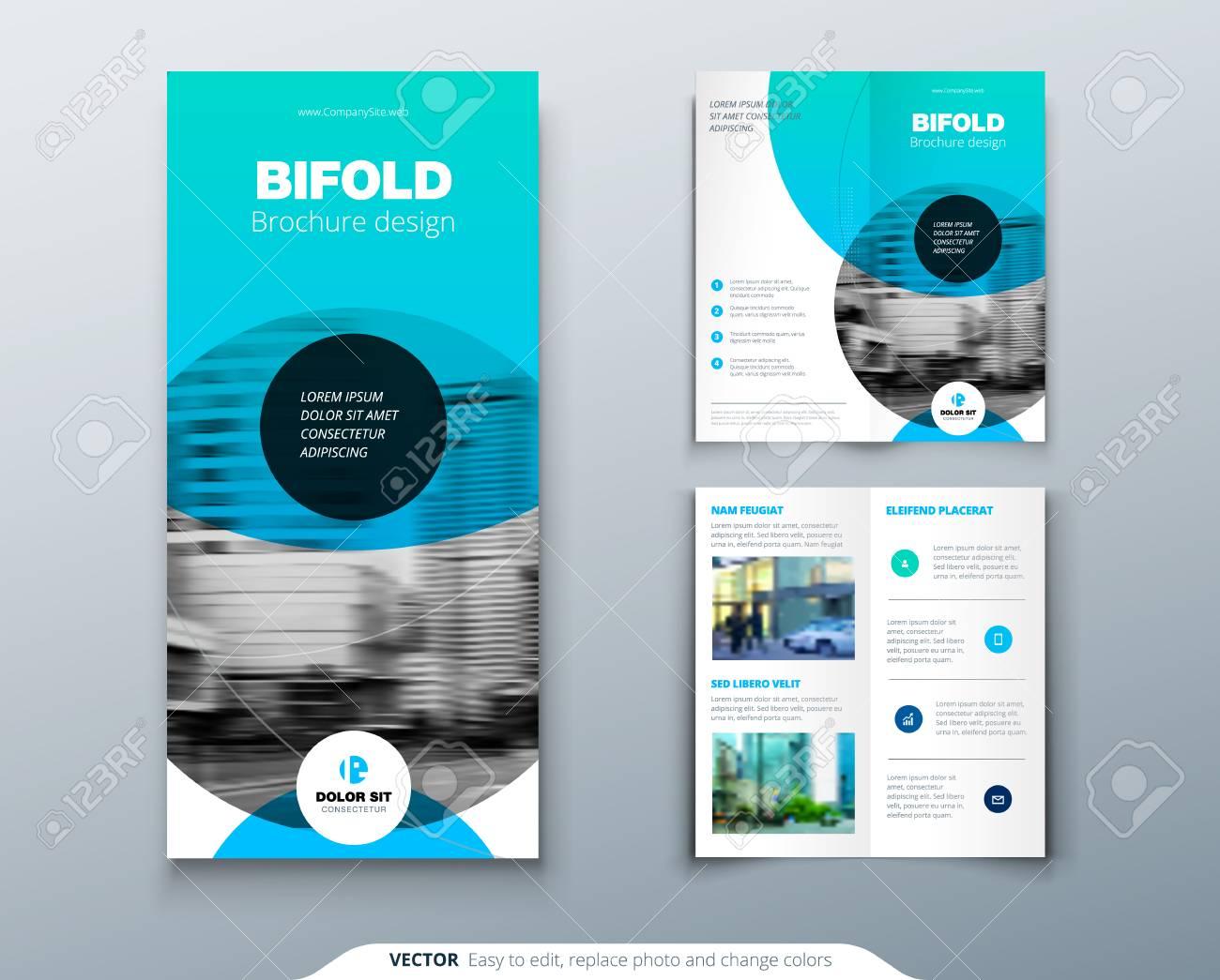 tri fold brochure design blue business template for tri fold