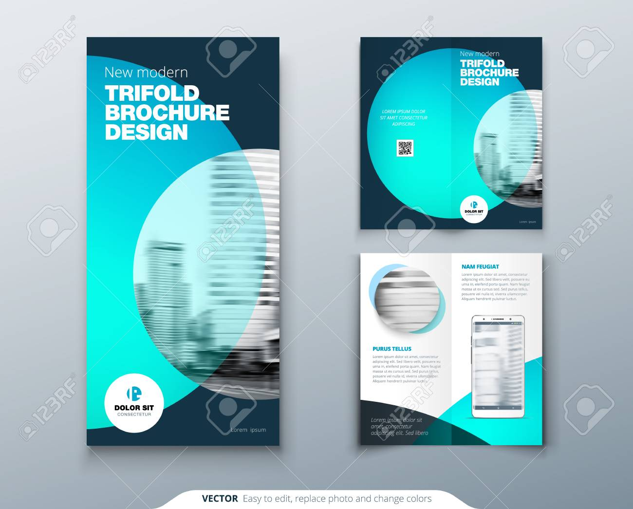 tri fold brochure design teal business template for tri fold
