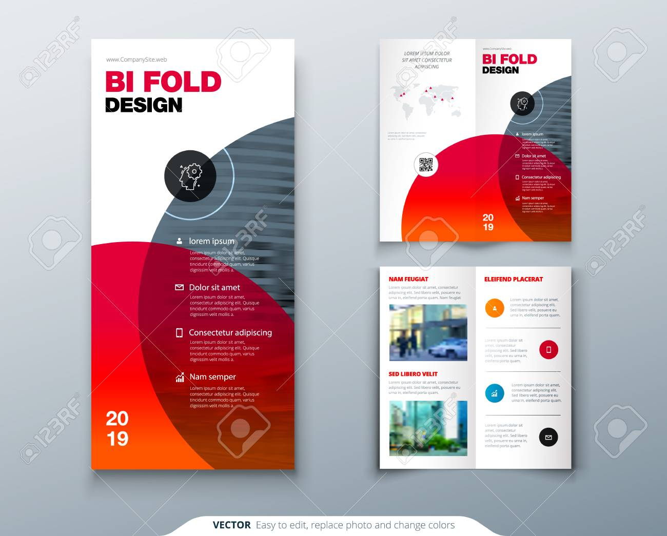 tri fold brochure design business template for tri fold flyer layout with modern circle