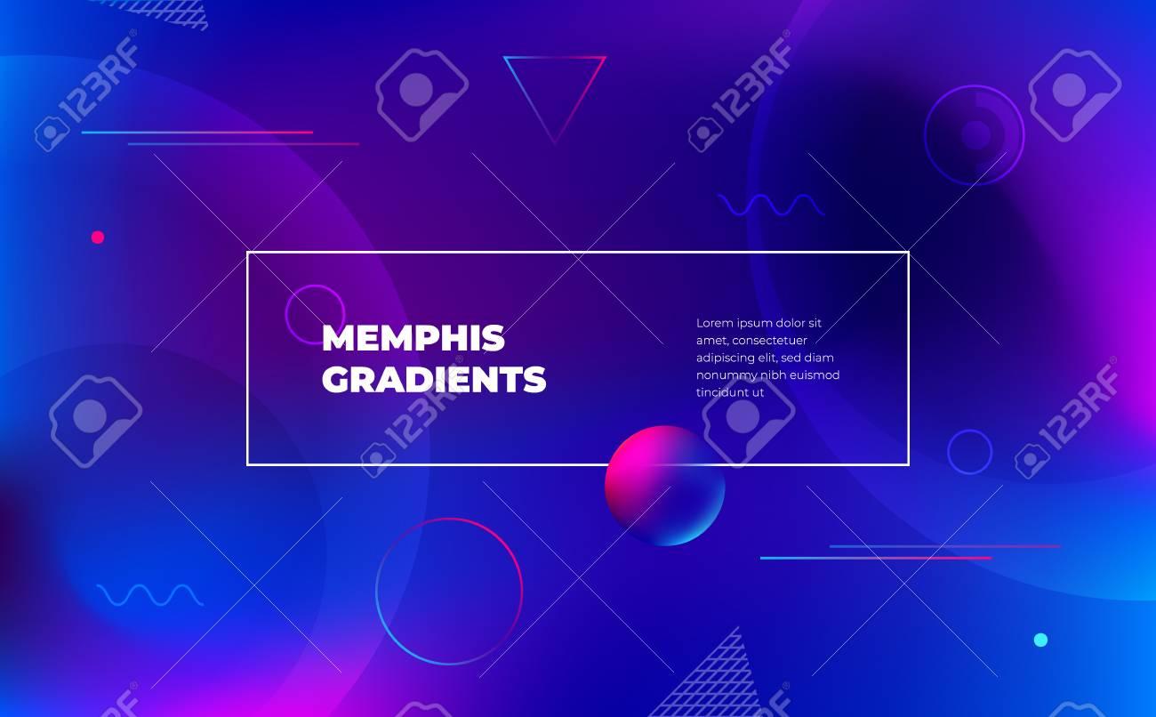 Memphis Abstract Color Background Design Fluid Gradient Shapes