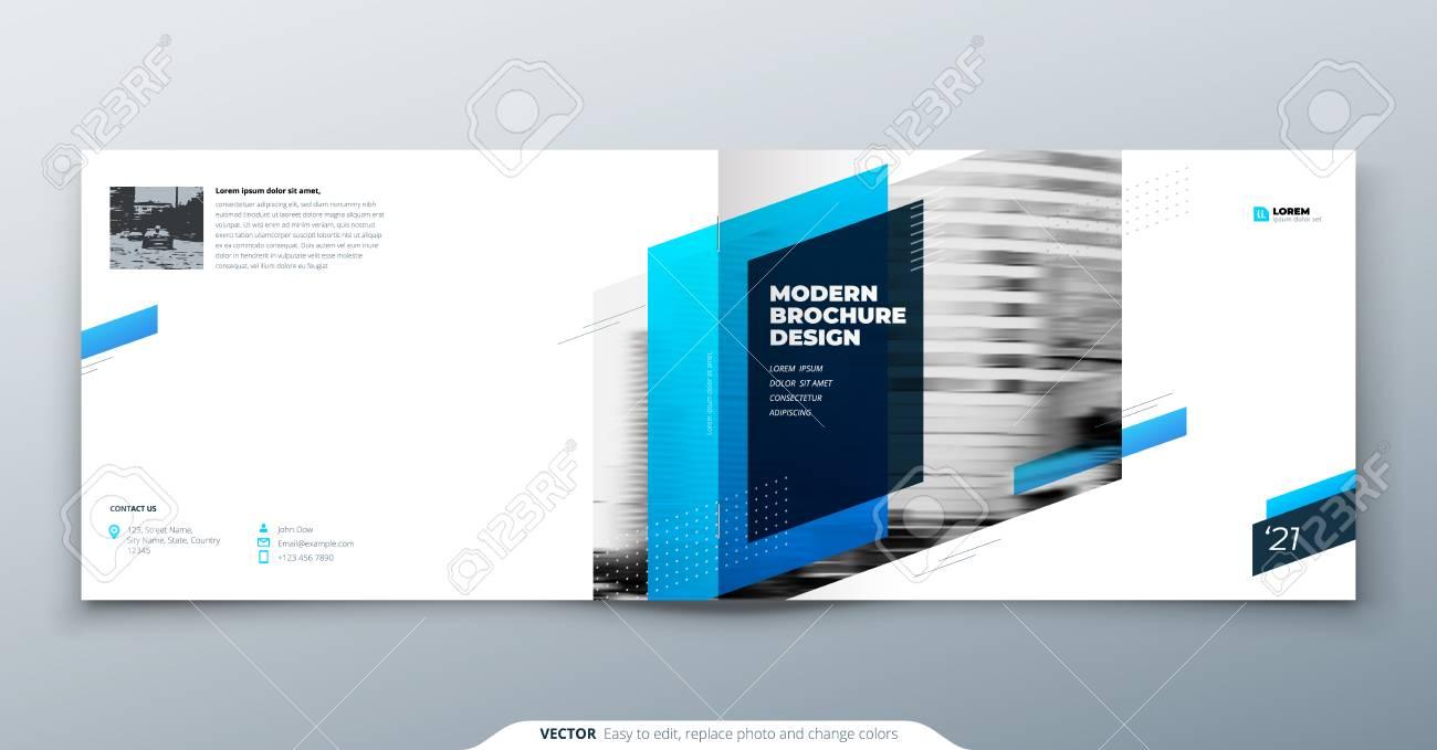 landscape brochure design blue corporate business template brochure