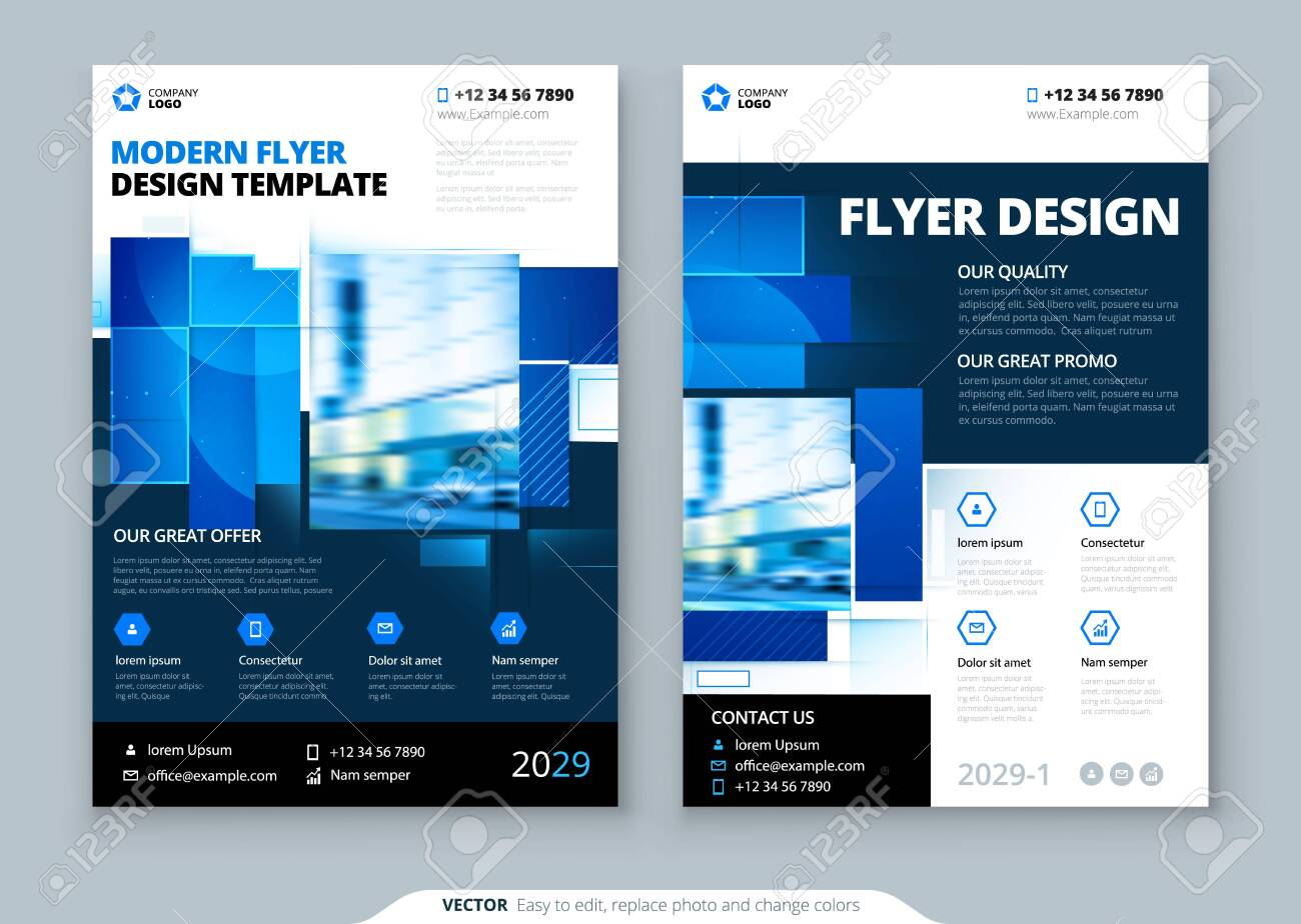 Blue Flyer Template Layout Design. Corporate Business Flyer, Brochure, Annual Report, Catalog, Magazine Mockup. Creative Modern Bright Flyer Concept with Square Shapes - 131423277
