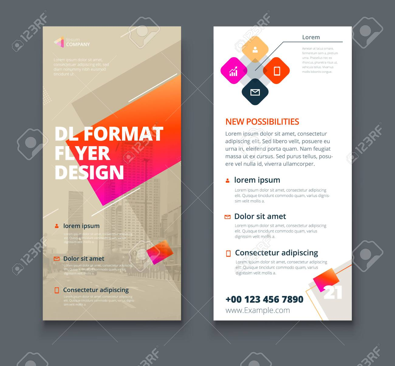 Biege DL Flyer design with square shapes, corporate business template for dl flyer. Creative concept flyer or banner layout. - 142458501