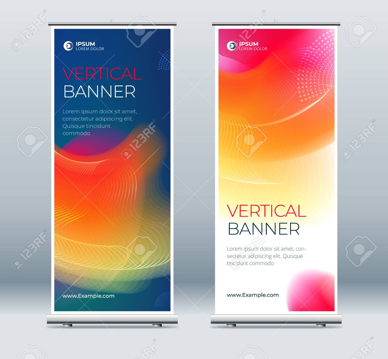 Roll Up banner stand presentation concept. Corporate business roll up template background. Vertical template billboard, banner stand or flag design layout. Poster for conference, forum, shop - 146943296