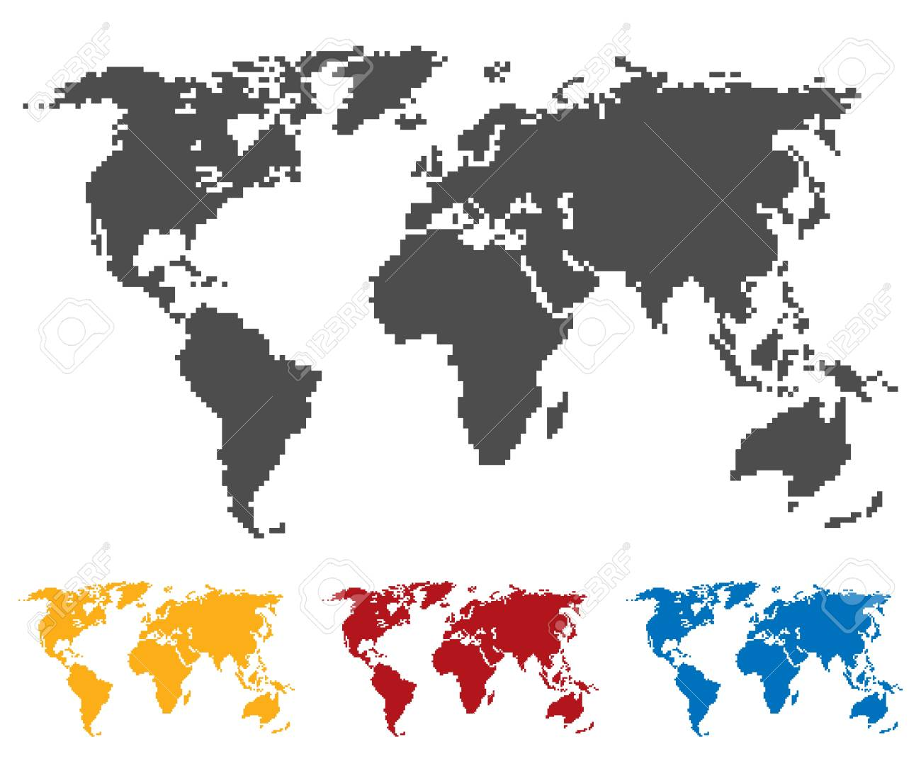 World map black yellow red blue color saddle or pixel structure foto de archivo world map black yellow red blue color saddle or pixel structure globe icon flat vector illustration in black on white background gumiabroncs Images
