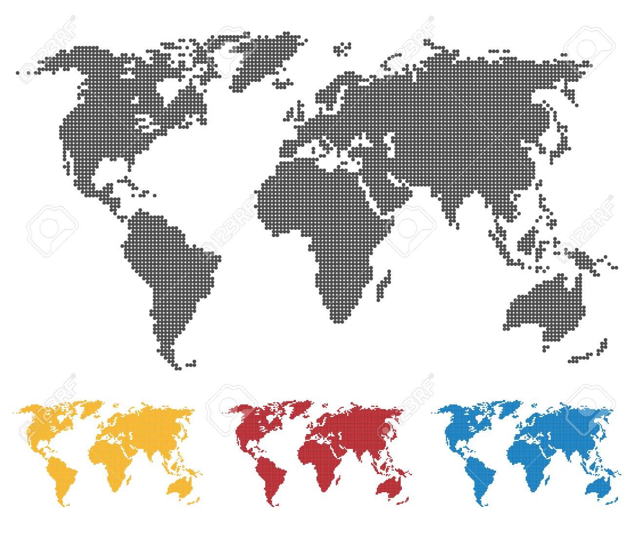 Carte Du Monde Jaune.Carte Du Monde Jaune Bleu Noir Rouge De La Banniere Camera Pixel Set Globe Web Icone Illustration Vectorielle Plane