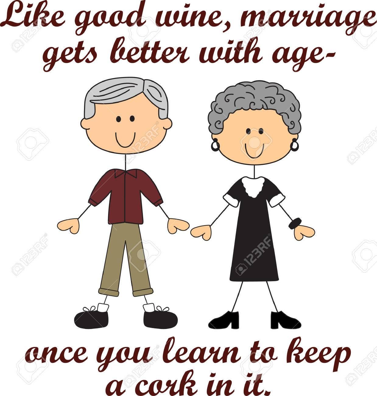 Vettoriale Come Il Buon Vino Il Matrimonio Migliora Con L Età