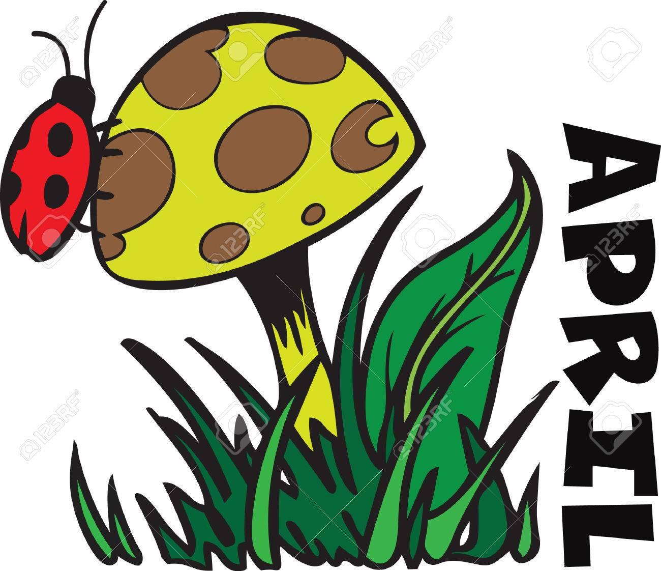 Vettoriale Questo Disegno Adorabile Di Una Coccinella E Un Fungo è