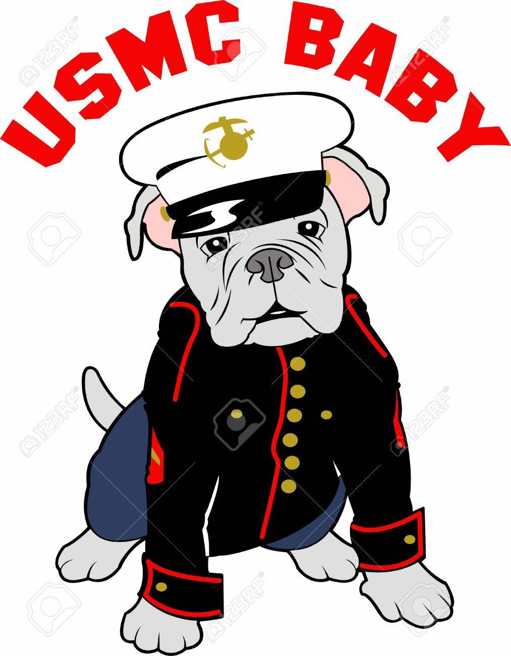 Marines can show their pride with a bulldog mascot. - 45244221