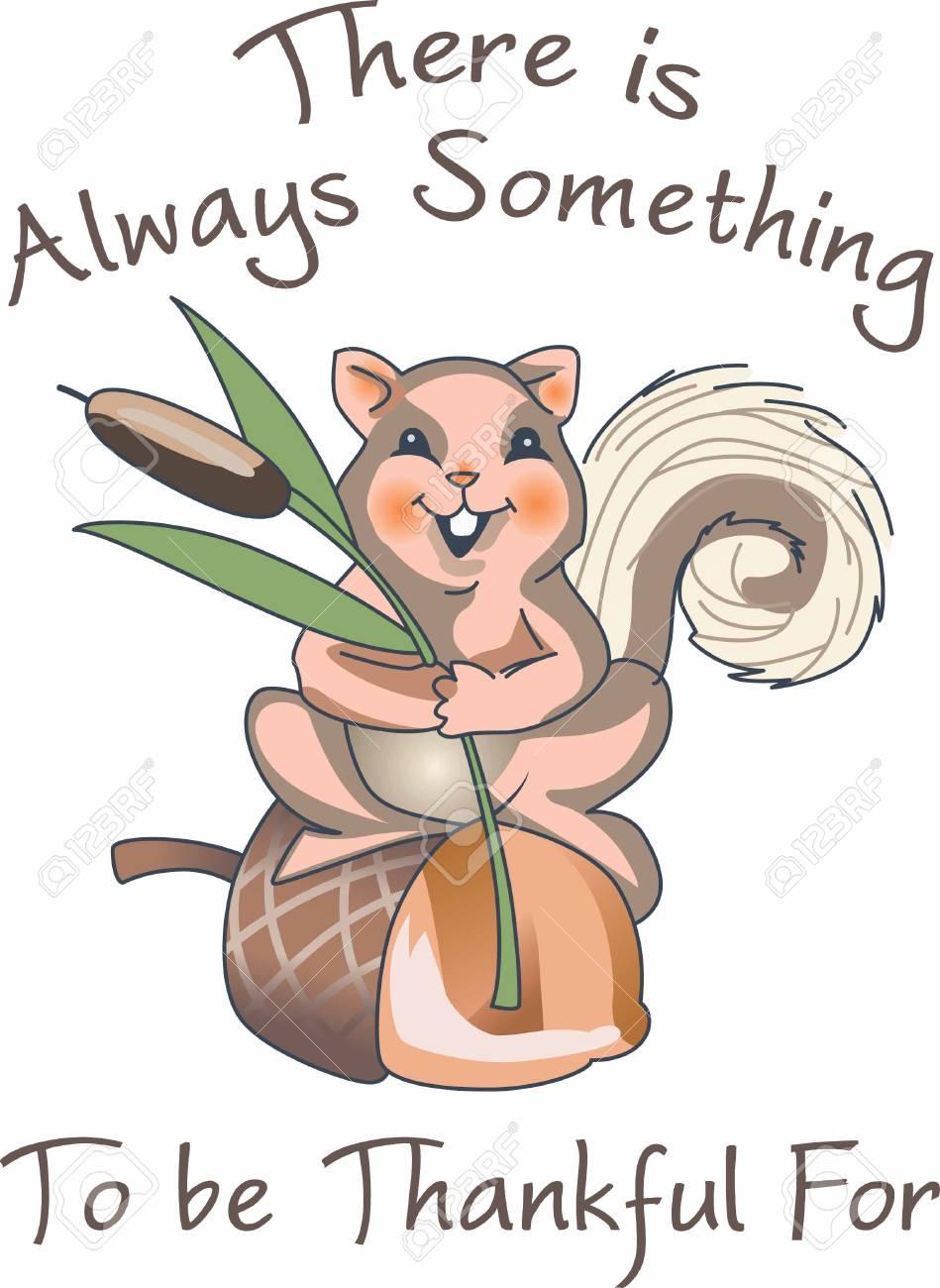 Eine Niedliche Eichhörnchen Ist Ein Spaß Herbst Dekor. Lizenzfrei ...