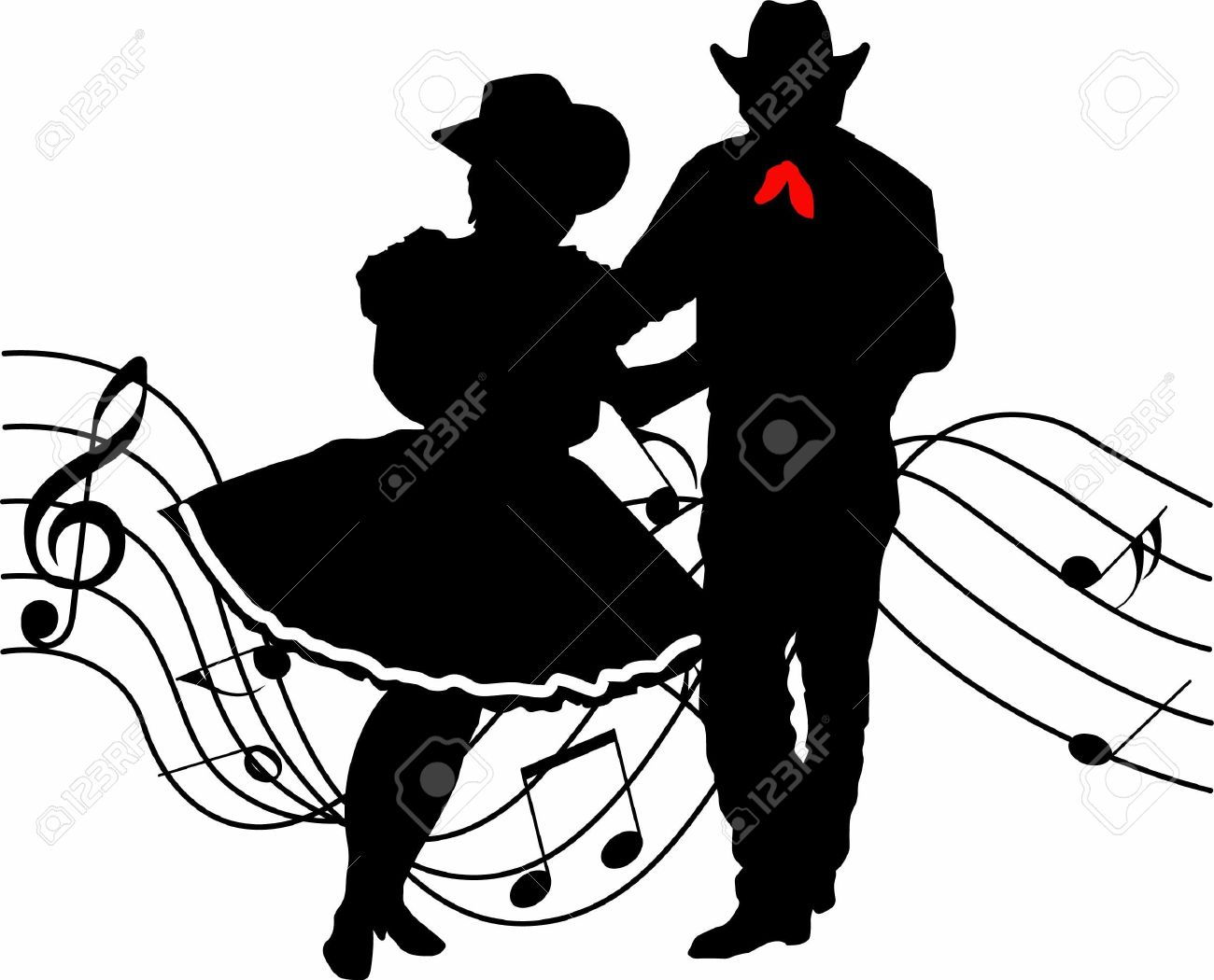 The perfect country silhouette of square dancing and music. - 45297514