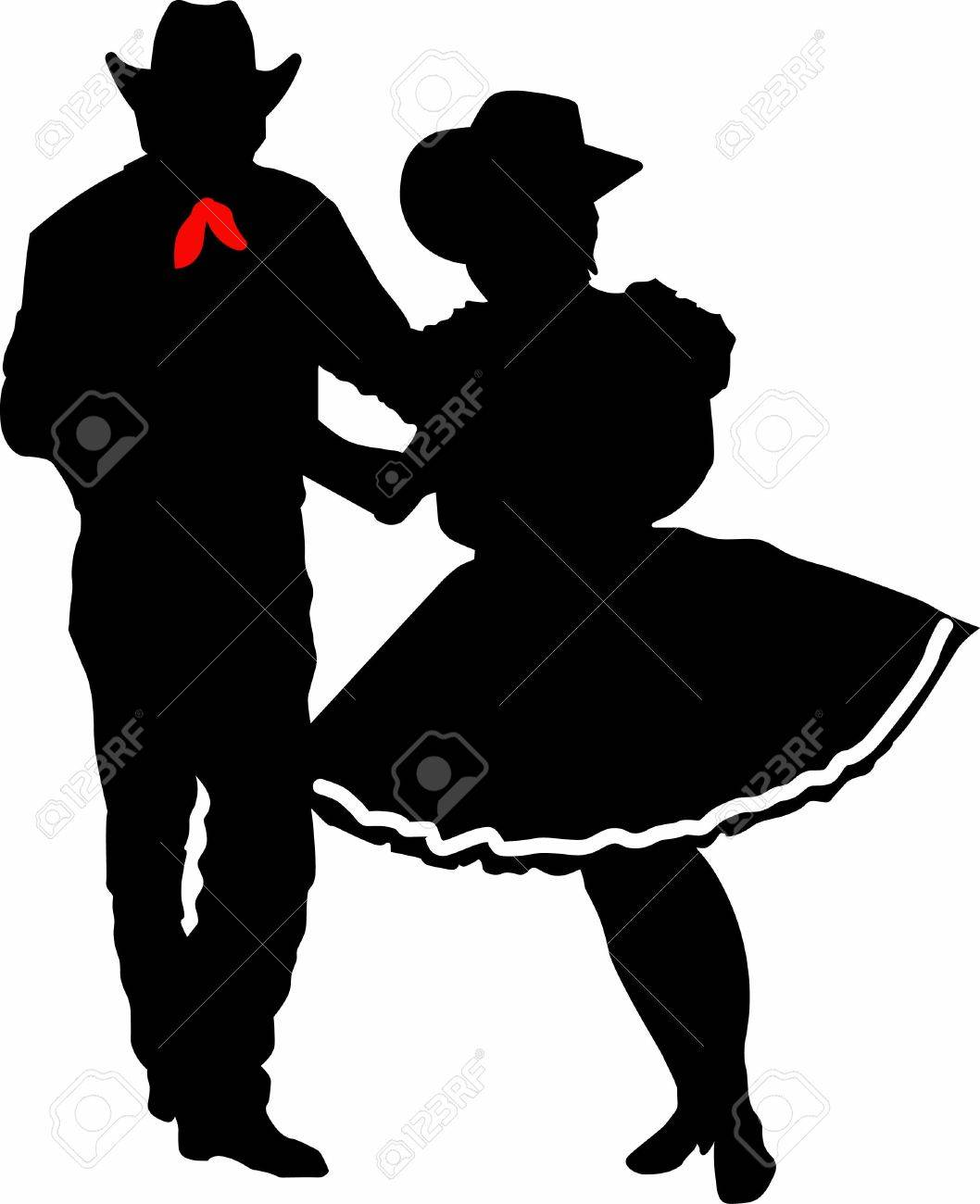 The perfect country silhouette of square dancing and music. - 45297515