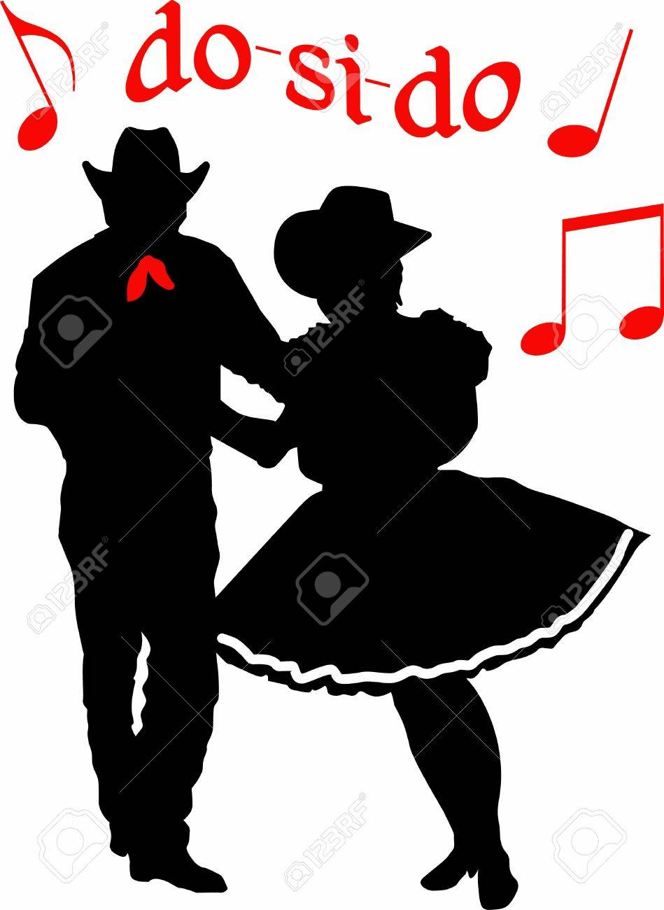 The perfect country silhouette of square dancing and music. - 45297516