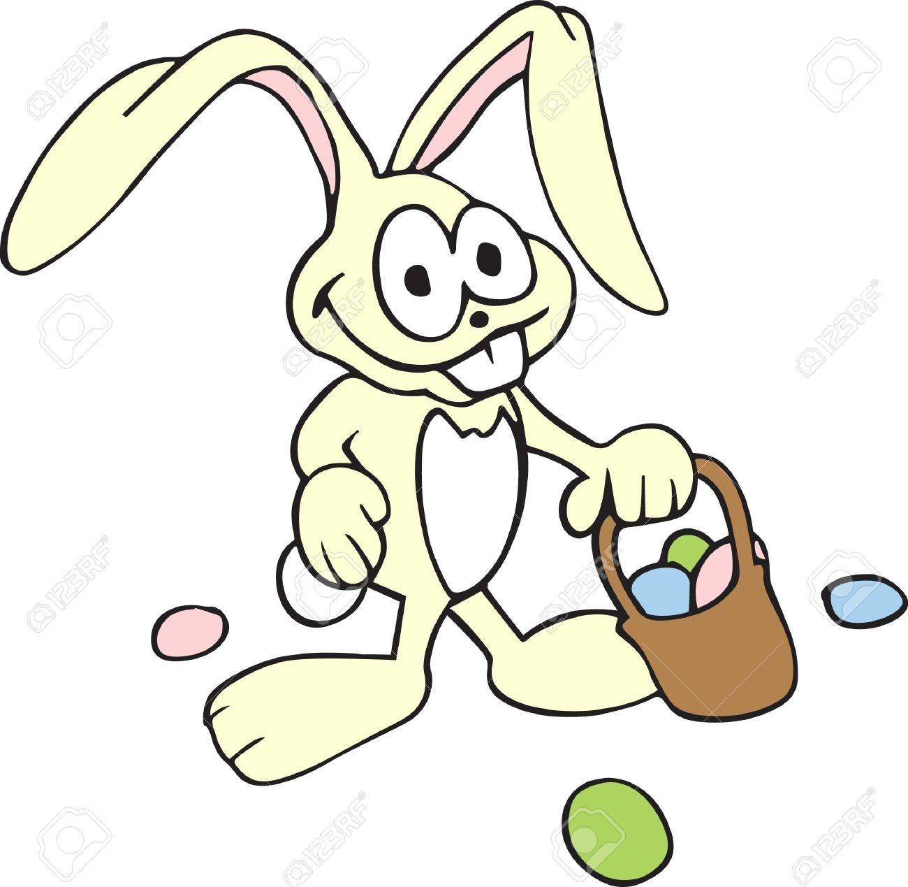 A Silly Bunny Is Great For Delivering Easter Eggs Stock Vector