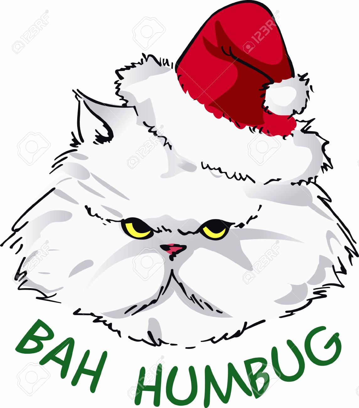 Cheer up your holiday dcor with a grumpy Santa cat. - 45352059