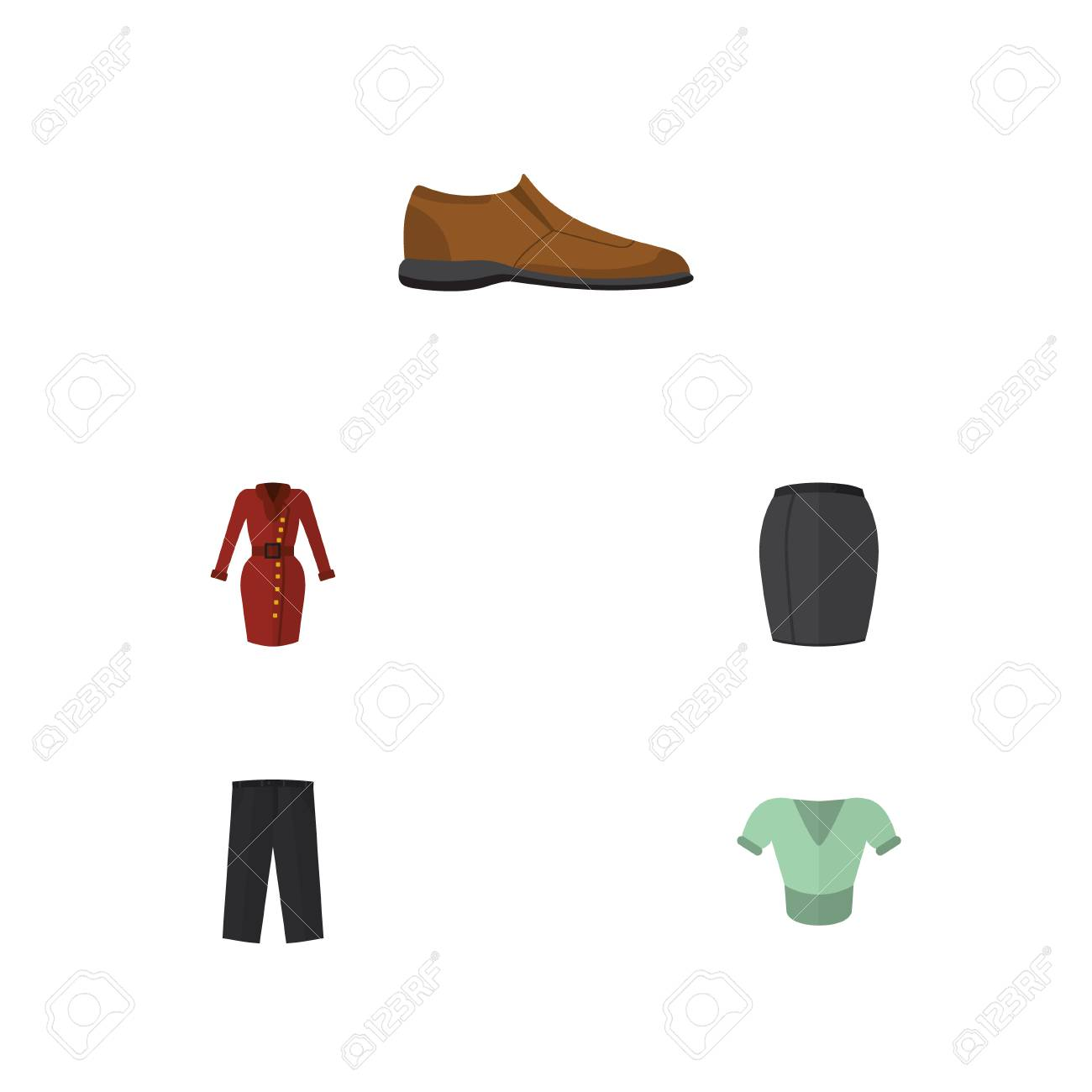 Flat Clothes Set Of Pants Casual Stylish Apparel And Other Shoes Vector Objects Also