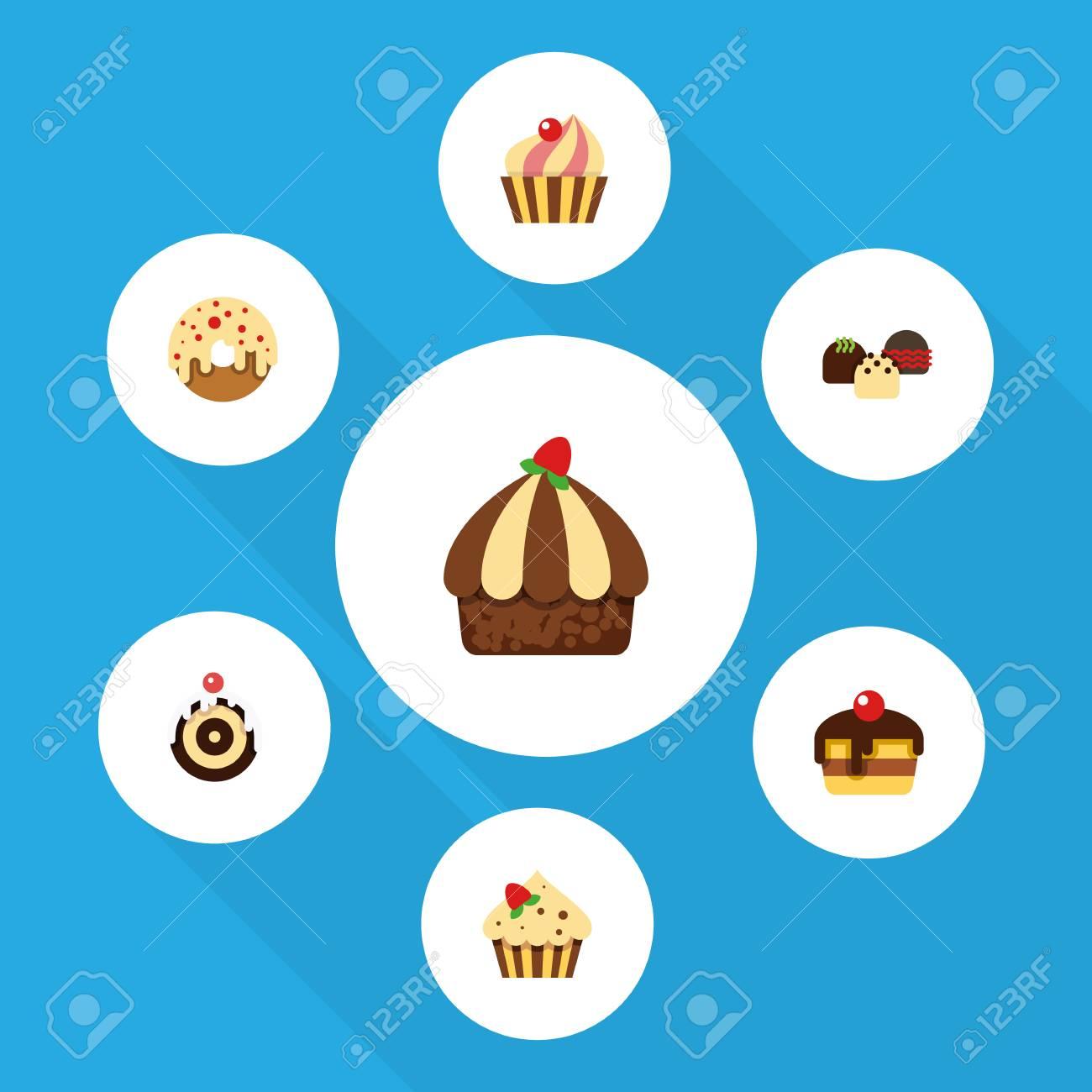 Flacher Kuchen Satz Von Cupcake Von Donut Von Kuchen Und Von