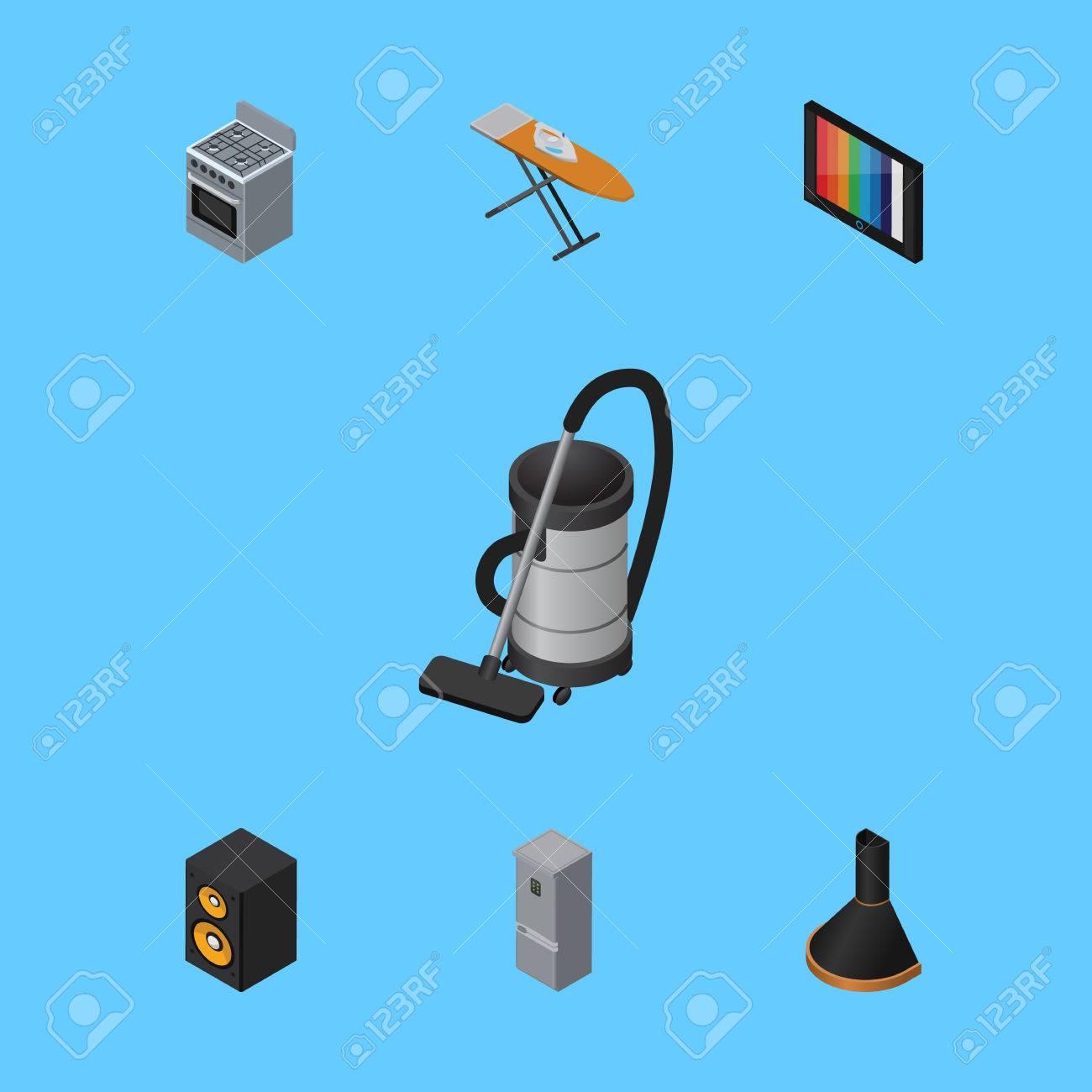 Isometric Appliance Set Von Stoff Eisen, Spieldose, Küche ...