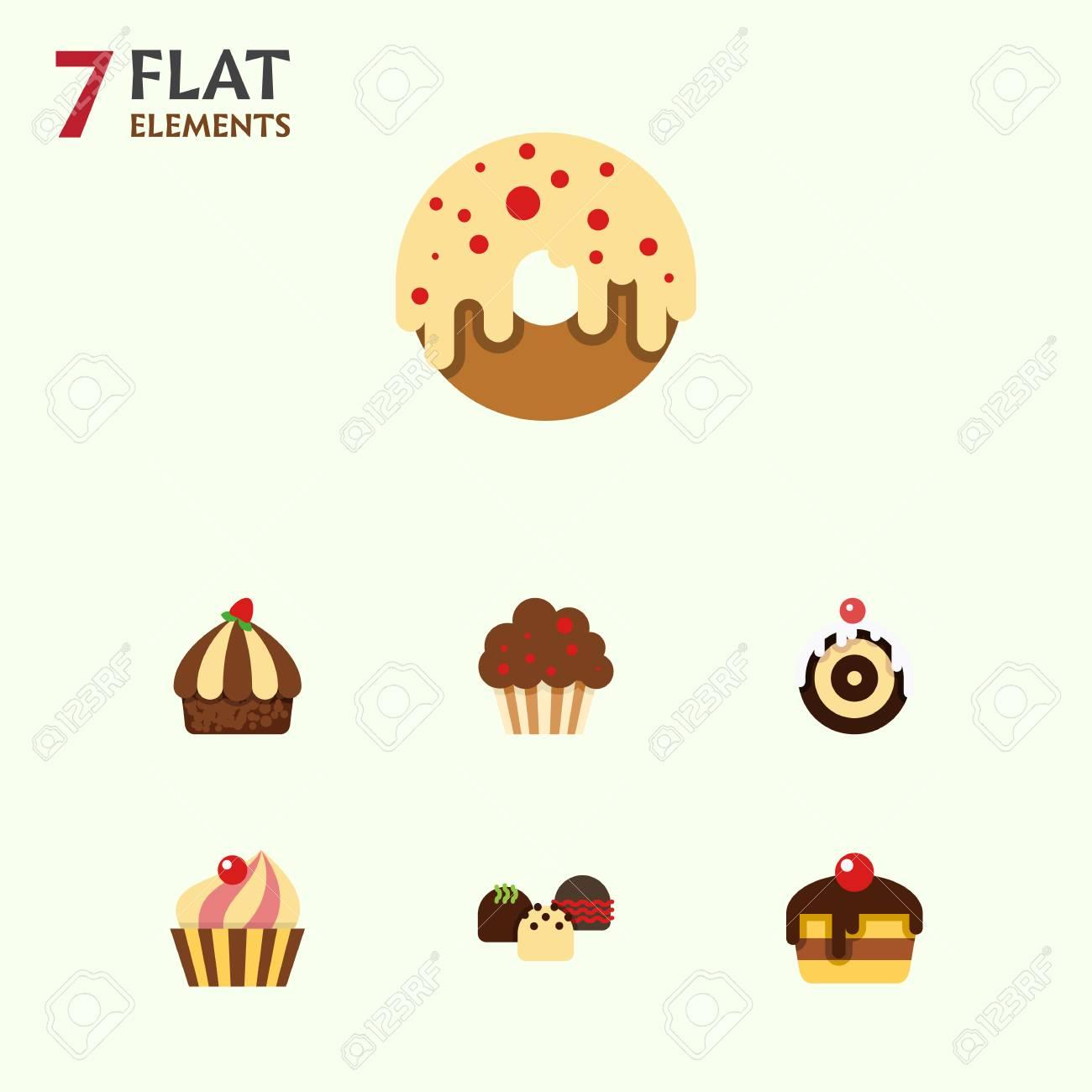 Flacher Kuchen Satz Nachtisch Muffin Geback Und Andere Vektor